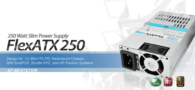 Athena Power AP-MFATX25P8 20+4Pin 250W Single 80 PLUS Server Power Supply PSU